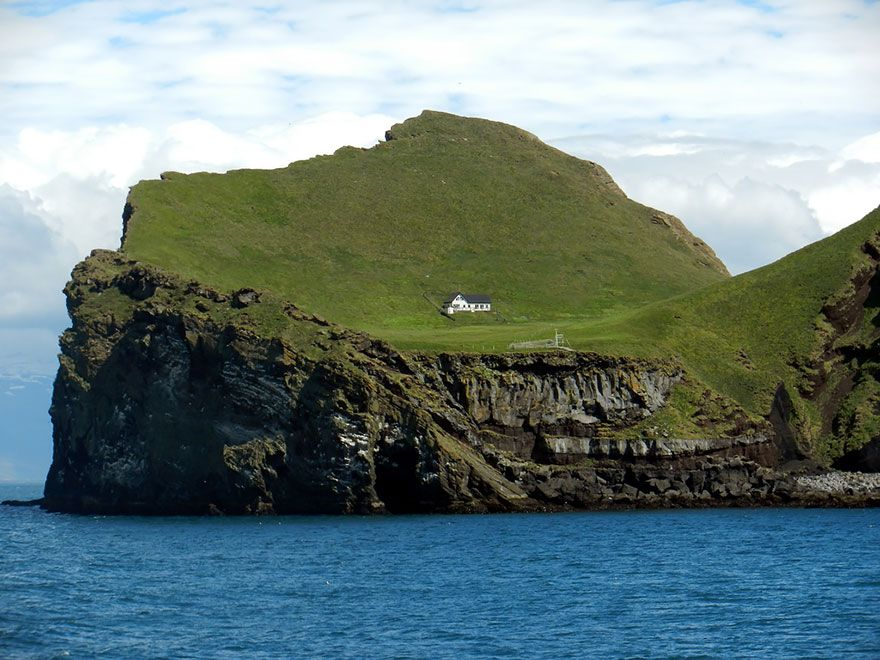 The Solitairy House Of Elliðaey Island, Iceland