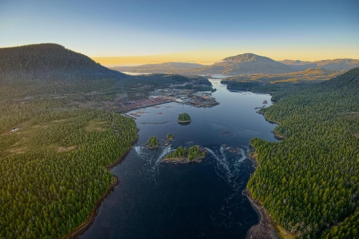 Prince Rupert Aerial-Butze Rapids Sunset-November